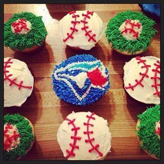 Blue Jay Baseball themed cupcakes