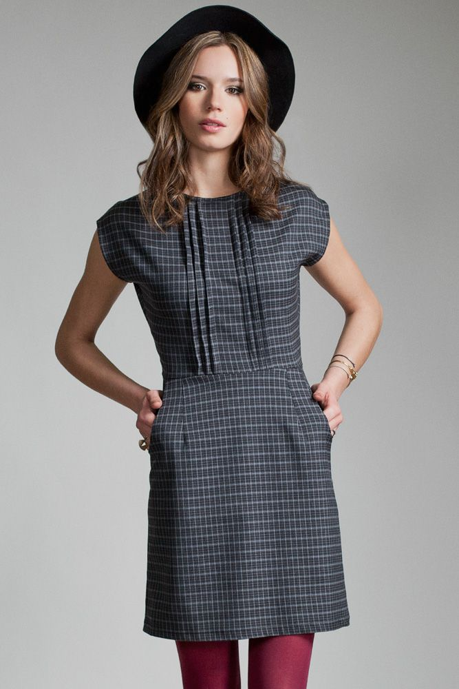 Cetus Dress by Jennifer Glasgow.  Cap sleeve dress with pin tuck detailing.