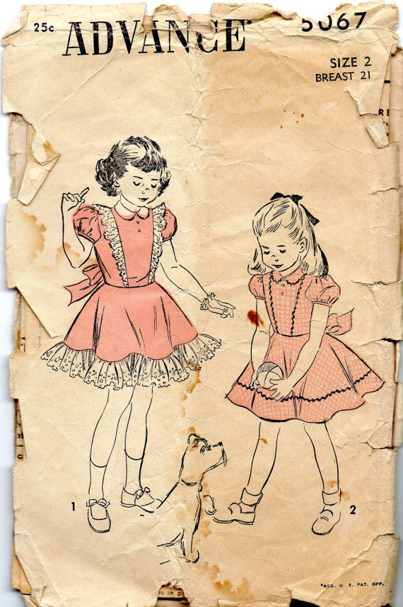 Advance+5067+1940s+Toddlers+Dress+Pattern+Puff+Sleeves+Ruffled