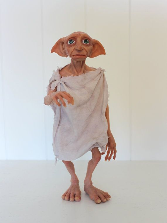Harry Potter Dobby the House Elf art doll polymer clay by Lamapie