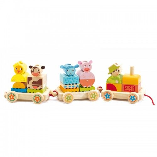 These 24 brightly coloured wooden pieces can be used to construct a great pull along toy.