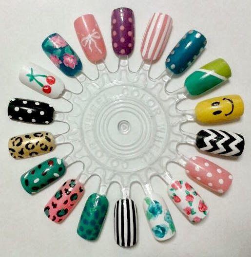 Nail Art Wheel | Diseños para uñas decoradas | Rueda de diseños #flowers #smiley #animalprint