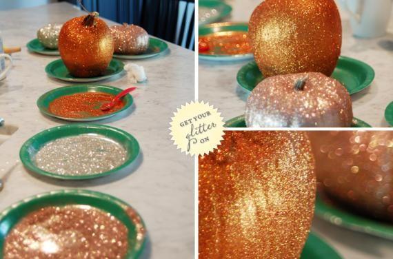 wouldn't it be fun? glitter pumpkin decor bar for favors