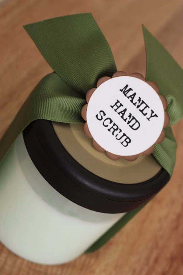 DIY Gifts For Men | Awesome Ideas for Your Boyfriend, Husband, Dad - Father , Brother and all the other important guys in your life. Cool Homemade DIY Crafts Men Will Truly Love to Receive for Christmas, Birthdays, Anniversaries and Valentine's Day | Manly Hand Scrub | http://diyjoy.com/diy-gifts-for-men-pinterest