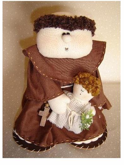 Artes da Lisandra: Molde Santo Antonio: Doll, Felts, Felt, Bonecas De Pano Com Moldes, Molds, San Antonio