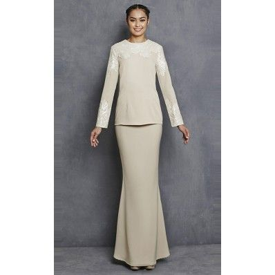 Mahkota Modern Kurung with Lace Sequins in Nude