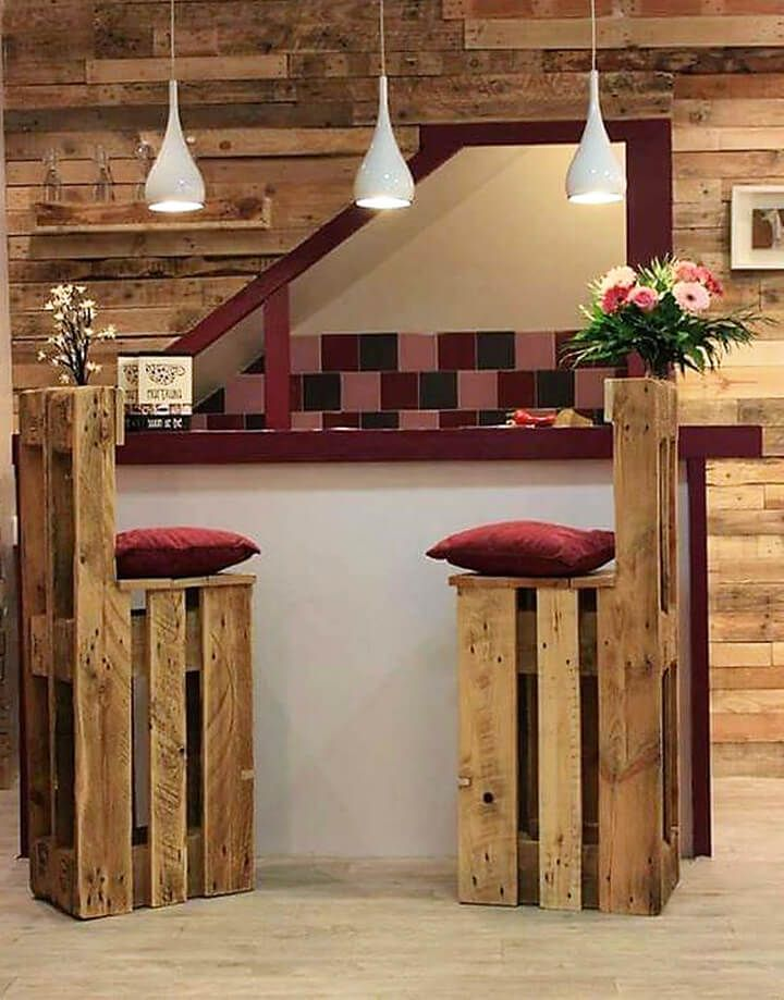 Rustic is always in fashion and never disappoints your style instinct. These pallet wood bar stools are simple yet deliciously beautiful. They are exotic and awesome. What is more good for you that they can be built quite easily with lesser basic tools. Make them comfortable by adding cushioned seats.