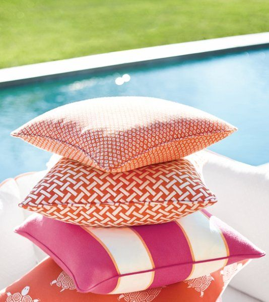 Shibori Dot Outdoor Fabric A pleasing outdoor fabric with a small scale diamond design, shown in coral. The pattern is reminiscent of the traditional Japanese process of Shibori, whereby cloth is shaped and secured before being dyed to produce various effects.