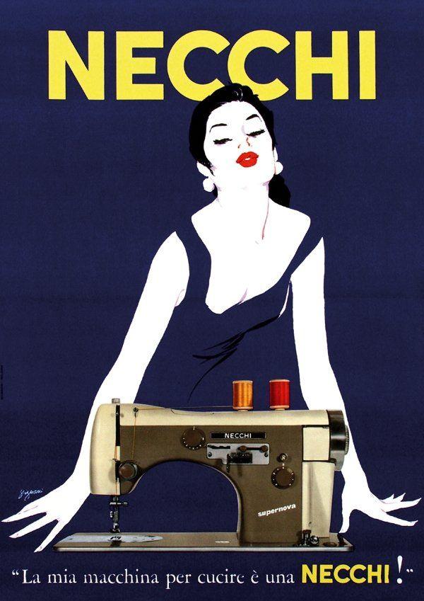 NECCHI-PUBBLICITA'  Vittorio Necchi decise di staccarsi dall'azienda di famiglia, per entrare nel settore meccanico e costituire la maggiore fabbrica italiana di macchine per cucire.