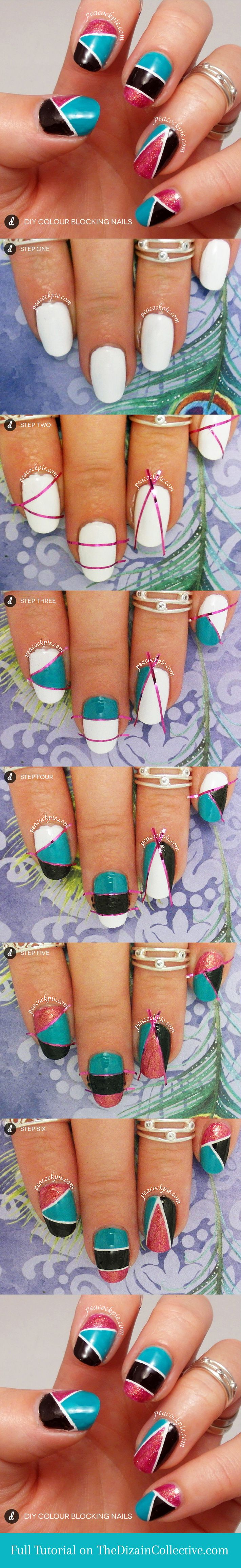 DIY Nail Art tutorial for Colour Blocking on your nails