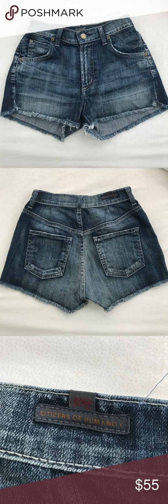 Citizens of Humanity high rise shorts Citizens of Humanity high rise shorts. SO soft and nice -- definitely run on the smaller side though. Feel more like a size 24 in my opinion. Citizens Of Humanity Shorts Jean Shorts