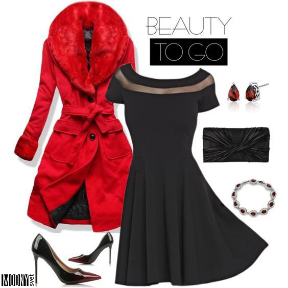 spoločenské-čierne-šaty-červený-kabát-lodičky-listová-kabelka-strieborné-náušnice-náramok