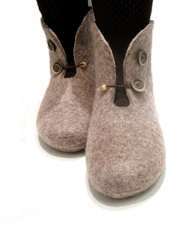 these make me think of my mum, she would love these. Brown felted slippers / booties. $69.00, via Etsy.