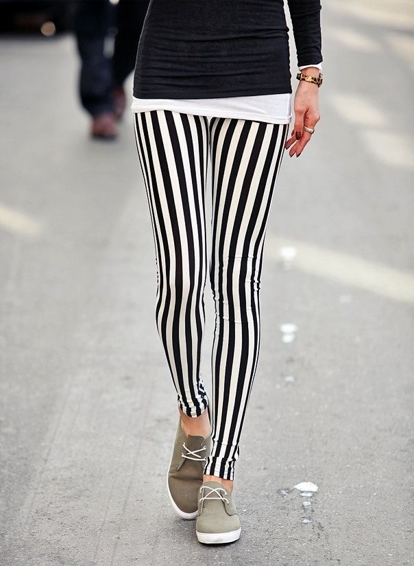 Black and White Vertical Stripe Leggings on Luulla. Don't know if I like these because they're cute or if its because they remind me of beetle juice haha