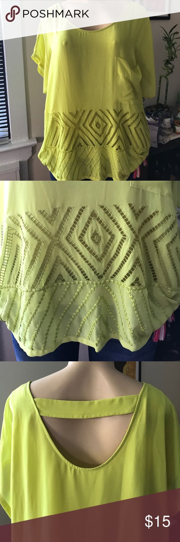 Cluny neon yellow top Worn twice. Super cute for the summer time and night life cluny Tops Blouses