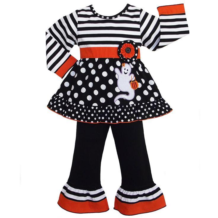 AnnLoren Girls' Halloween Stripe and Dot Ghost Outfit   Overstock.com Shopping - The Best Deals on Girls' Sets