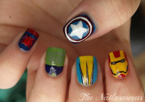 """""""Manicure Monday: Marvel Nail Art, by The Nailasaurus.  That Wolverine nail is absolute perfection."""""""