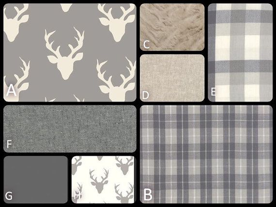 Rustic Baby Bedding-Grey, White, Tuape Plaids and Stags -Deer-Woodland Nursery-Crib Skirt, Minky Blanket - Baby or Toddler Bedding Sets
