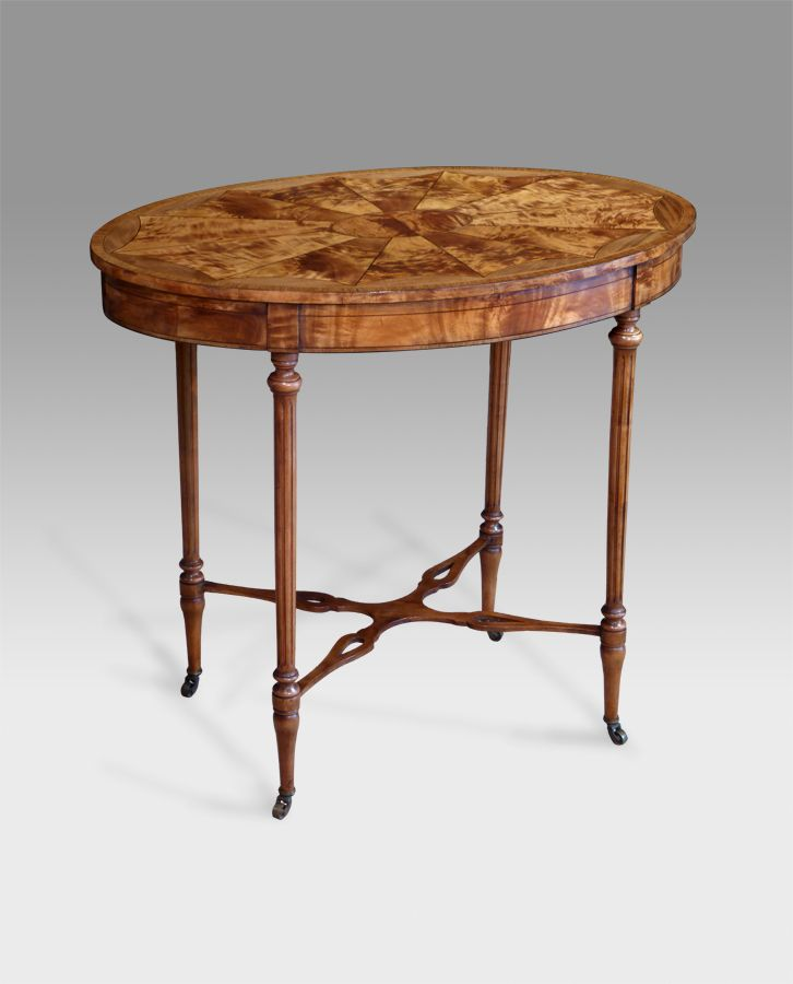Lamp Table, Tripod Table   Edwardian Oval Occasional Table, Segmented  Figured Satinwood Top With Ebony And Boxwood Line Over Fluted Turned Legs  United By A ...