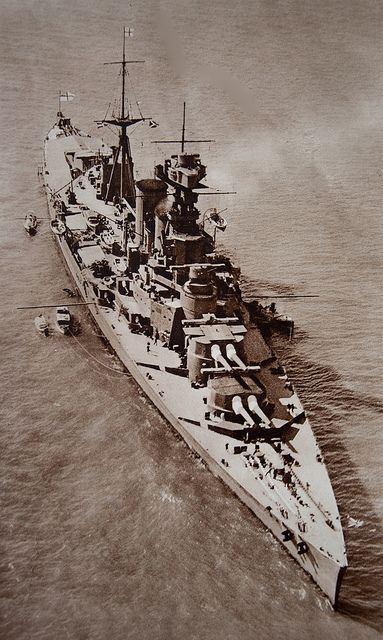 HMS Hood, 1926.  The largest battlecruiser ever built, she famously confirmed the fundamental flaw in the concept when she came up against the modern German battleship Bismarck in May 1941, being fatally vulnerable to heavy calibre plunging fire.  There were only 3 survivors.