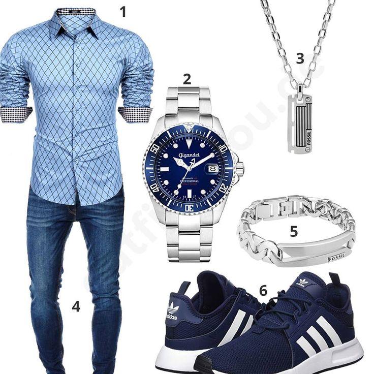 Blau-Silbernes Herrenoutfit mit Hemd und Jeans