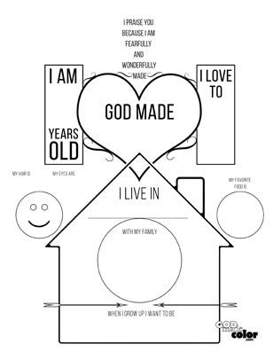 All About Me! God Made Me printable. This worksheet lets the child fill in the blanks to tell about themselves and learn that God made them. www.GodMadeColor.com