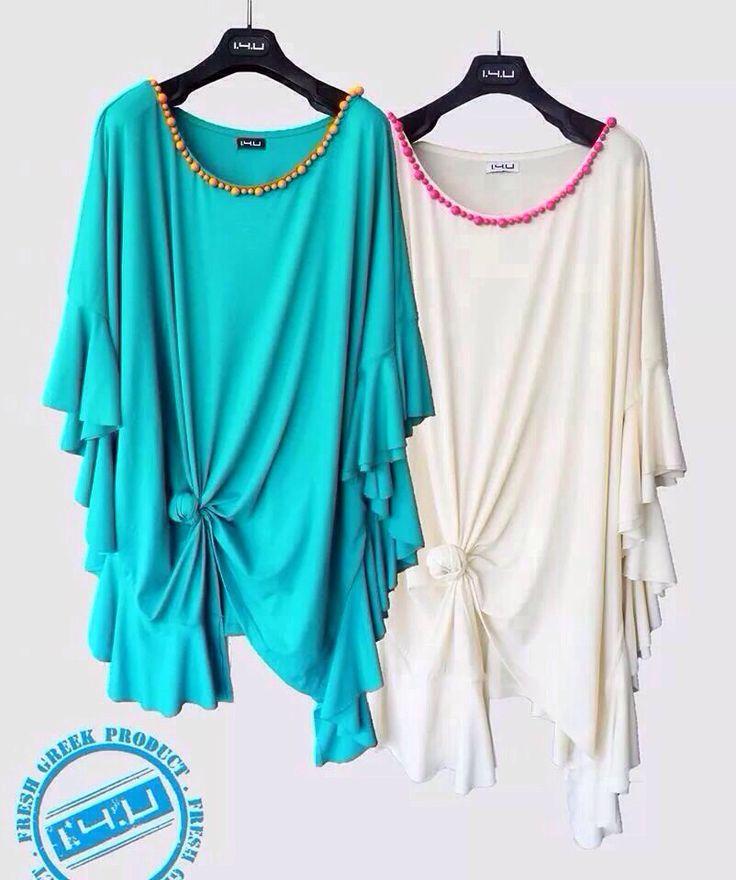 new Pre-fall 2014 Collection featuring the Aqua & Sea-foam Tunics... Both hand-embellished with Swarovski Pearls Neckline by 1.4.U !!! Another Fresh Greek Product www.14u-fashion.com