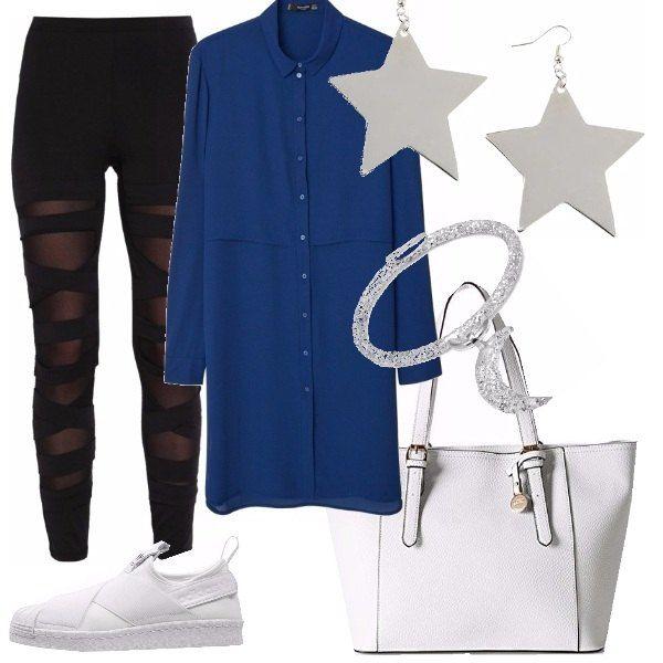 Stanca di tacchi, voglio poter usare le mie sneakers all the time. Quindi, provo con leggings vedo non vedo, dello stile grunge, camicia lunga blu cina, borsa e sneakers bianchi con semplici ma simpatici accessori luna e stelle.