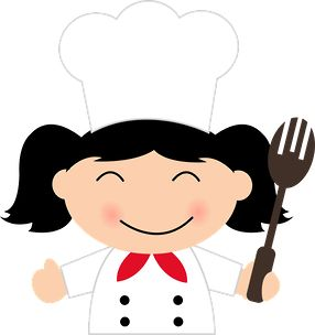 Girl chef with fork