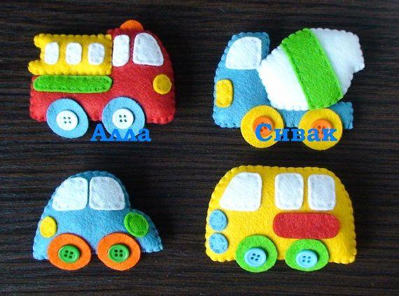 TECHICS felt magnets for kids Fire truck Cars por DevelopingToys