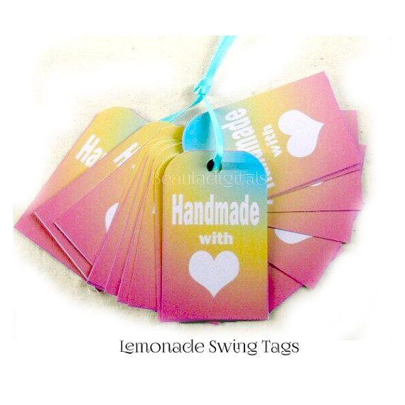 100 Lemonade Swing Tags   Handmade with Love by Beauladigitals