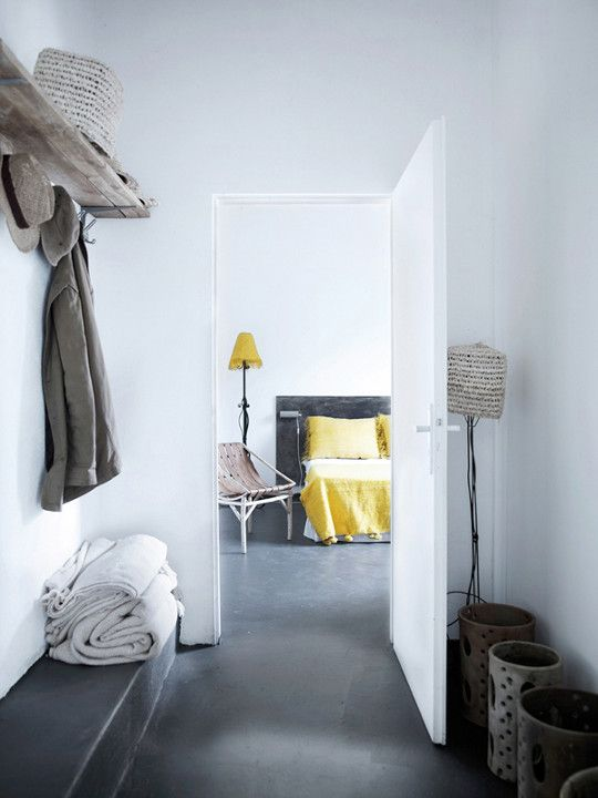 Concrete FloorPolish Concrete, Hallways, Beach Bedrooms, Living Room Design, Interiors Design, Grey Yellow, Floors Design, Wood Shelves, Concrete Floors