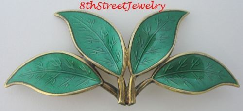 Estate-Willy-Winnaess-D-A-Norway-Sterling-Silver-925S-Green-Enamel-LEAVES-Brooch