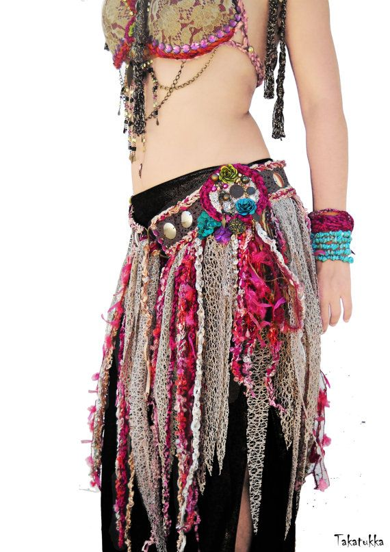 Mermaid Belt, Dancing Belt, Fairy Belt, Fringe Belt, Bellydance Costume, Tribal Fusion Belt, Belly Dancing Belts,Bellydance belt, pink