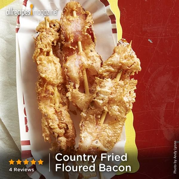 Country Fried Floured Bacon | Try serving these bacon skewers with maple syrup or honey for dipping. Is it breakfast? A snack? Or dessert? You be the judge.