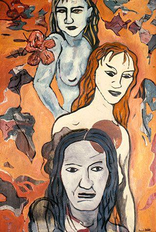 Canvas_Three-Women-(after-Pettibon)_60x40cm_Oil-on-canvas_1989