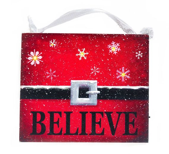 Santa Claus Belt~ Believe~ Santa's Black Belt~ Red and Black Christmas Decor~ Christmas White Snowflakes~ Gift for Teacher~ Gift for Mom