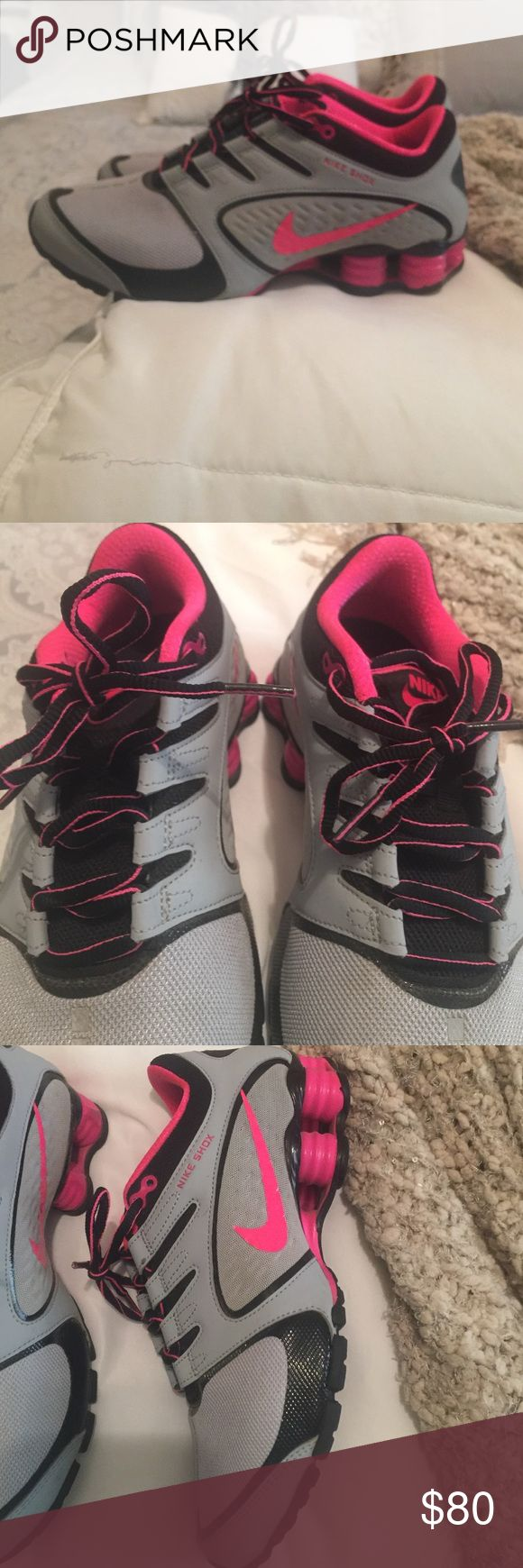 BNWOT!! Nike shocks! Worn once & just to right  BNWOT!! Nike shocks! Worn once & just to right ... Gray and bright pink!! Absolutely gorgeous shoes!!! Nike Shoes Athletic Shoes