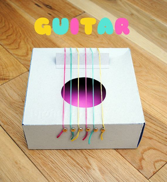 Cardboard instruments-  1. Cut out a smooth hole in the shoebox lid.  2. Place 4 or 6 elastic bands around the shoebox, starting with the thickest closest to you then gradually getting smaller.  3. Take 2 pencils or something protruding and put each one toward the end of the box at both sides, creating the bridge for the guitar.  4. Your guitar is ready to be strummed!