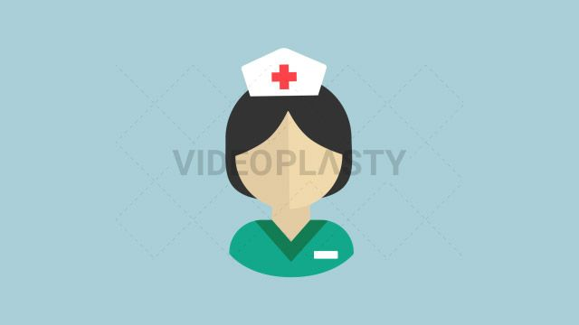 An icon of a female medical nurse with a green scrub designed in flat design style. Three version are included:in/out loop andin (can be extended with the loop version) Clip Length:10 seconds Loopable: Yes Alpha Channel: Yes Resolution:FullHD Format: Quicktime MOV