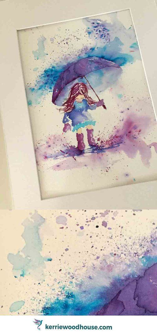 Rainy Days 10 Jumping in Puddles original watercolour painting | loose watercolor | umbrella | wall art | kids room | children's decor | purple | blue