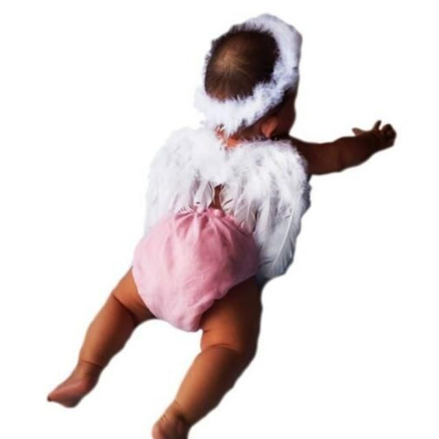 White Feather Wings Baby Angel Fairy Costumes Photography Props Cosplay 0-12M 6475