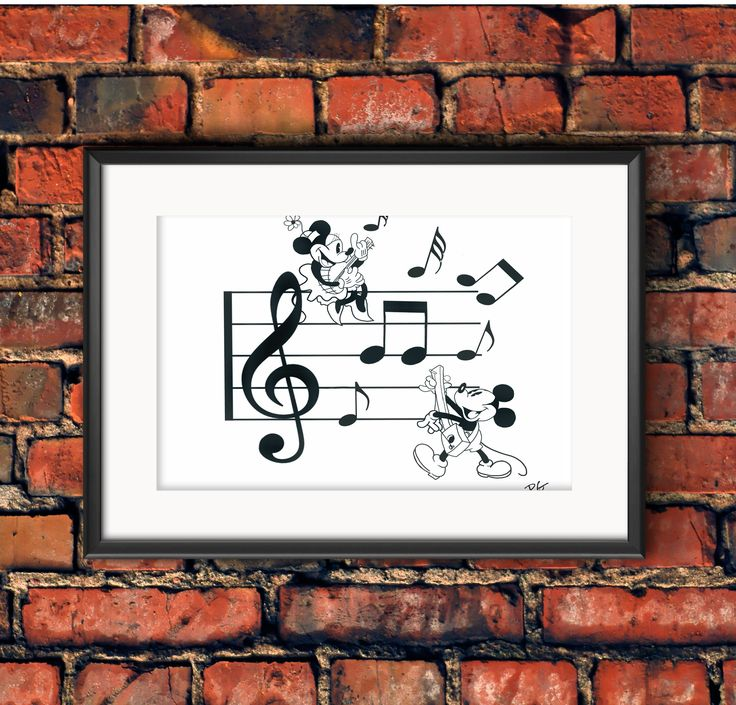 Retro Micky & Minnie Mouse Making Music Disney Wall Art Print