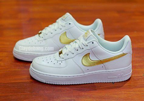 nike air force 1 white metallic gold