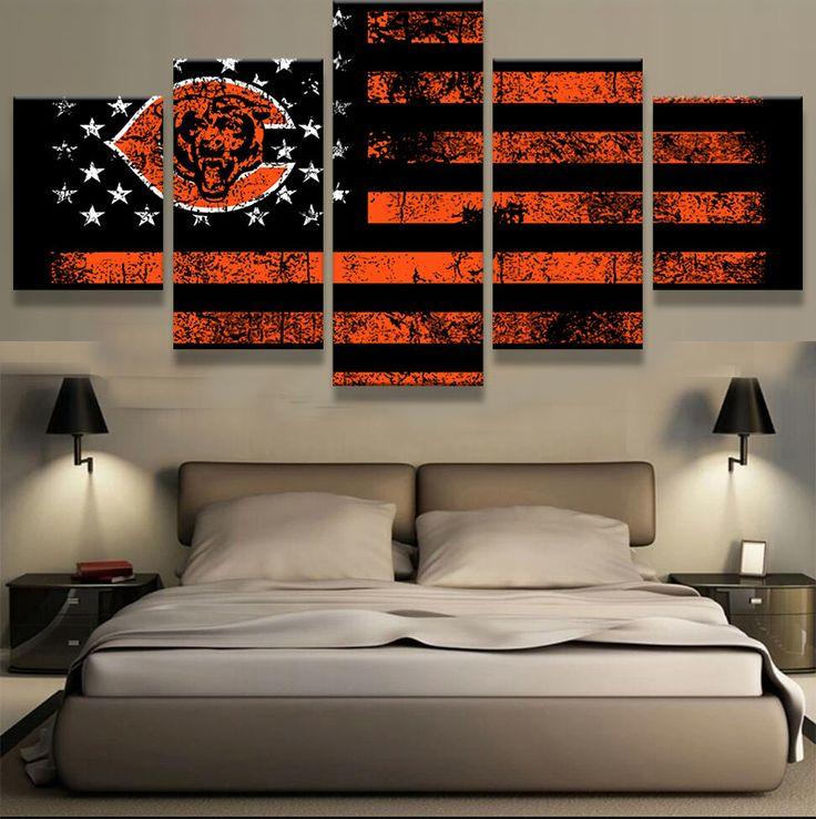 5 Panel Chicago Bears American Flag Framed Canvas Print Wall Art Poster
