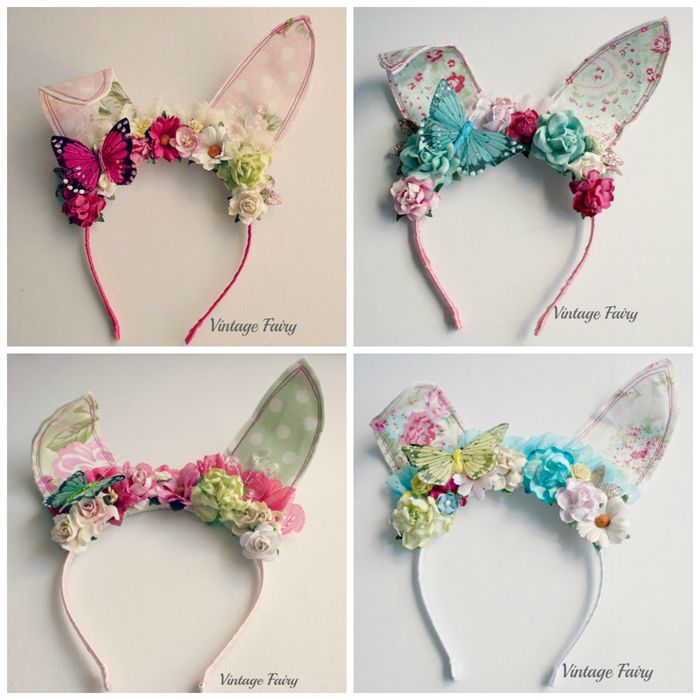 jemima bunny ears White floral(pre order see description)   Vintage Fairy   madeit.com.au