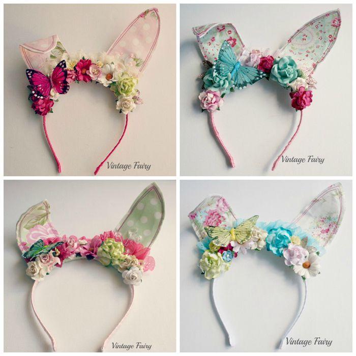 jemima bunny ears White floral(pre order see description) | Vintage Fairy | madeit.com.au