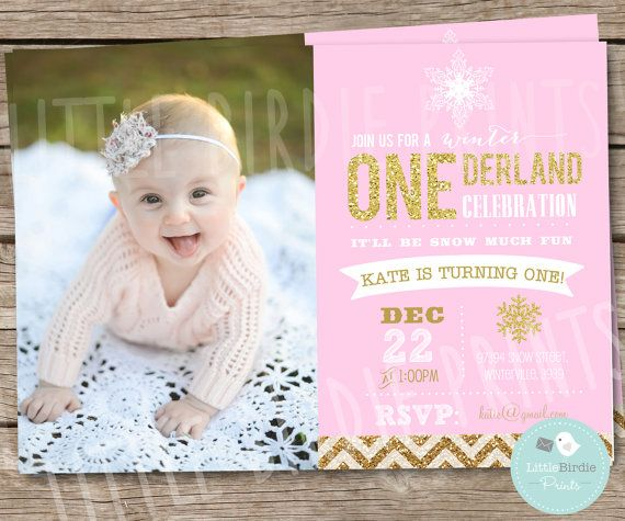 This Winter Onederland invitation with Gold and Pink makes a cute introduction to your winter onederland theme!    If your interested I can