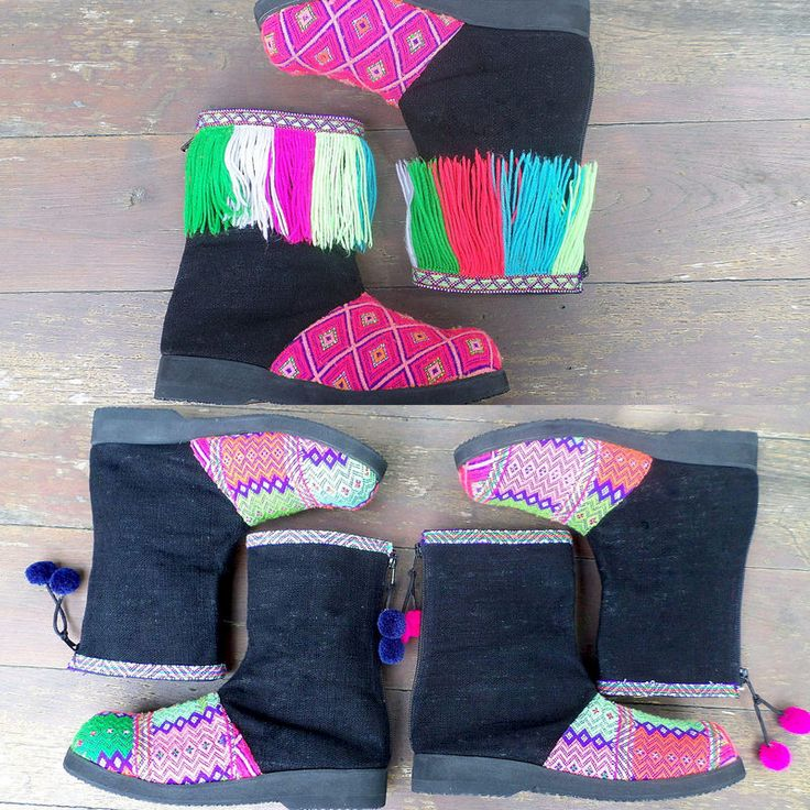 Kala Funky Womens Short Boot In Rich Tribal Colors Accented With Fringe Or Pom Poms #burningman #festival