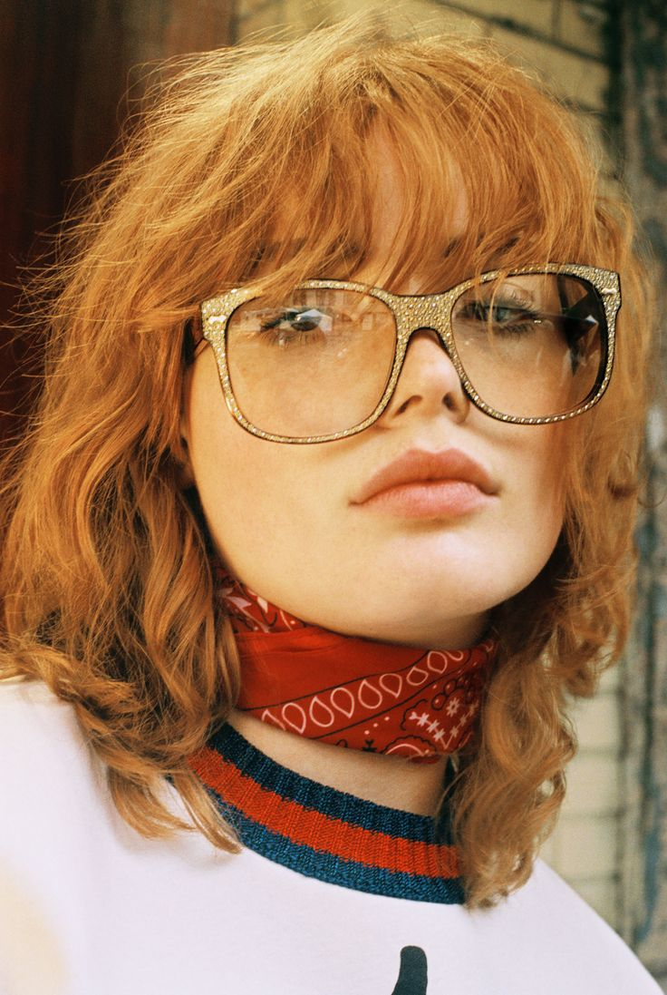 Mallory Merk, 16, in a GucciGhost sweatshirt, rhinestone glasses and her own bandana. Produced by Vogue for Gucci.